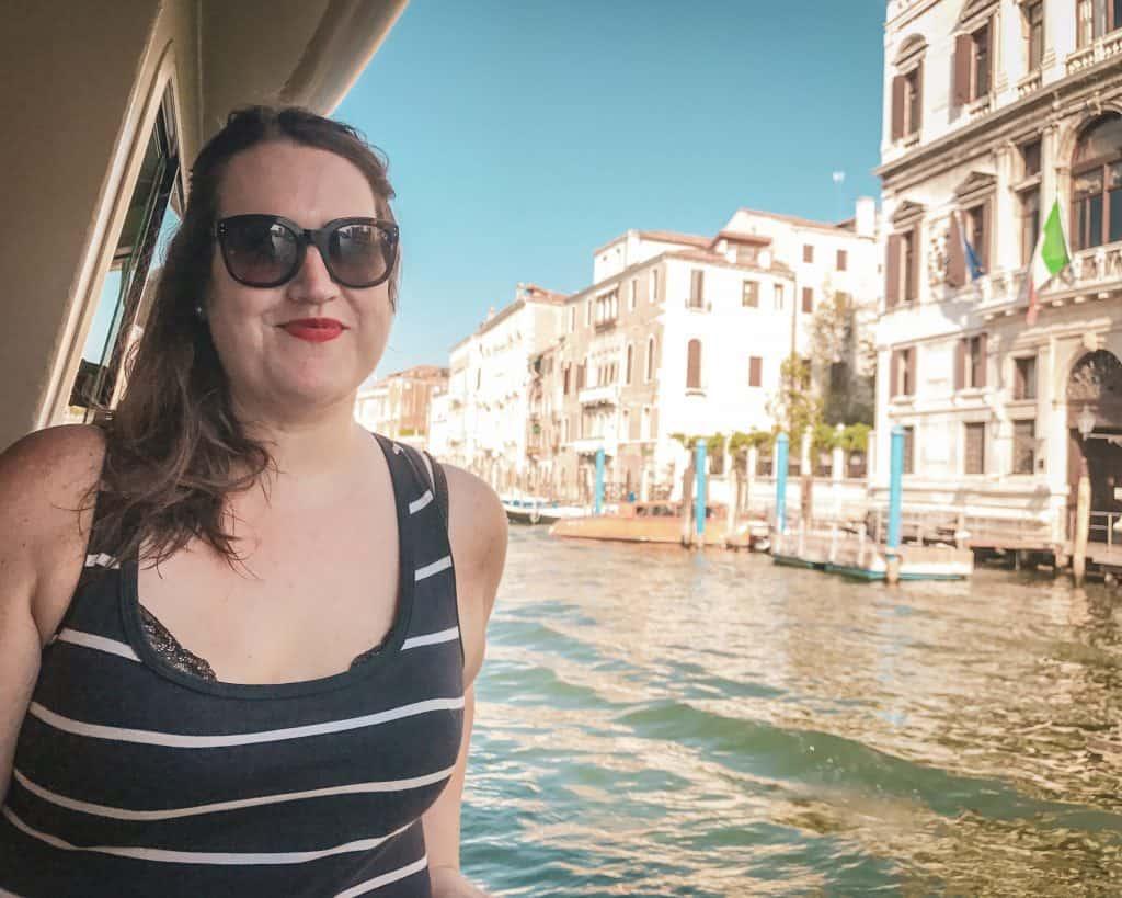 Italy - Venice - Stephanie on a Vaporetto
