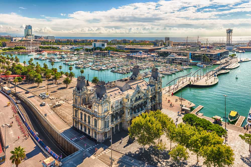 Scenic aerial view of Port Vell from the top of Columbus Monument, Barcelona, Catalonia, Spain