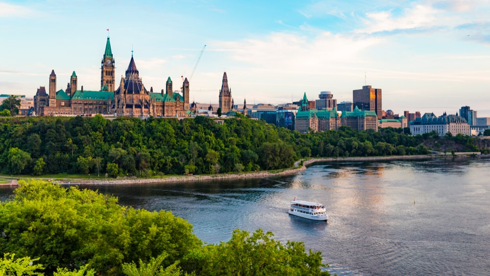 Canada - Ottawa - Parliament Hill and a Tour Boat on the Ottawa River in Summer