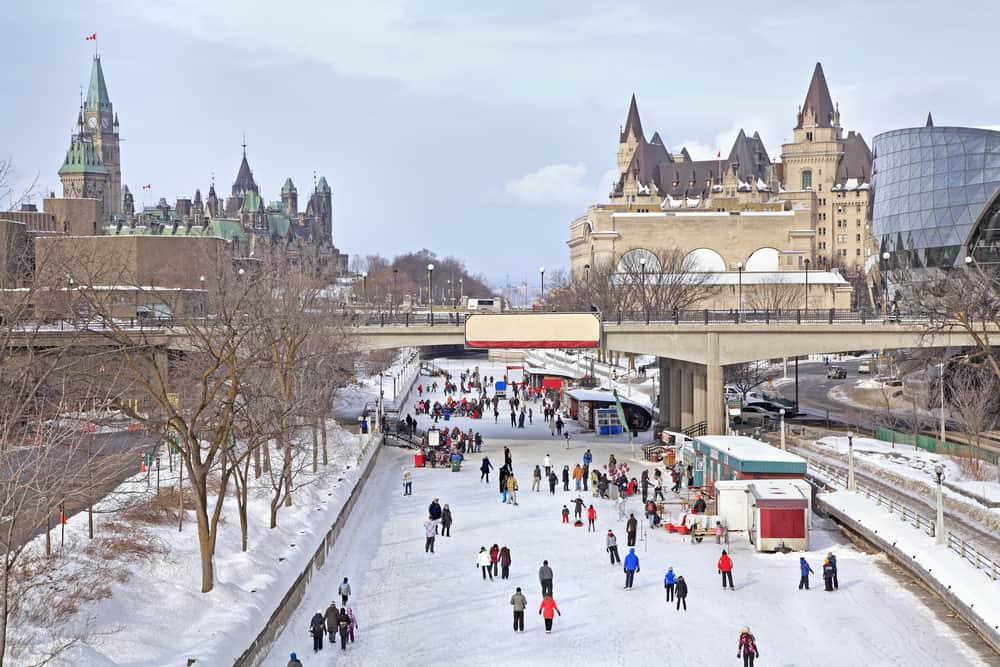 Canada - Ottawa - Rideau Canal skating rink, Parliament of Canada in winter, Ottawa