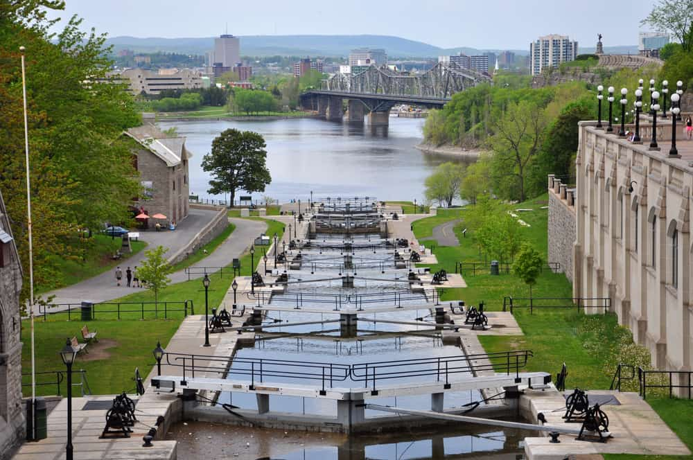 Canada - Ottawa - Rideau Canal in downtown Ottawa, Ontario, Canada. Rideau Canal was registered as a UNESCO World Heritage Site for the reason of the oldest continuously operated canal system in North American.