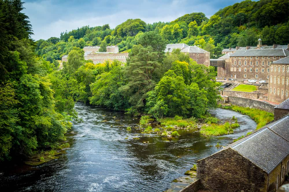 UK - Scotland - View of New Lanark Heritage Site, Lanarkshire in Scotland, United Kingdom - Image