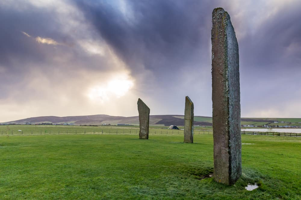 UK - Scotland - Standing Stones of Stenness, Orkney, Scotland. A neolithic stone circle which is part of The Heart of Neolithic Orkney World Heritage Site