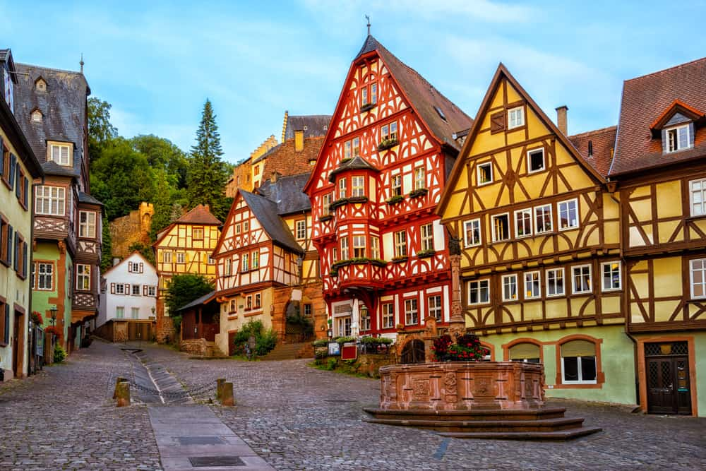 Germany - Colorful half-timbered houses in Miltenberg historical medieval Old Town, Bavaria, Germany