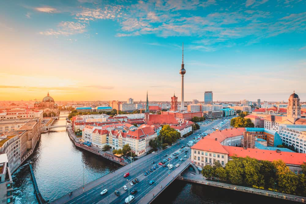 Germany - Berlin - Classic view of Berlin skyline with famous TV tower and Spree in beautiful golden evening light at sunset, central Berlin Mitte, Germany