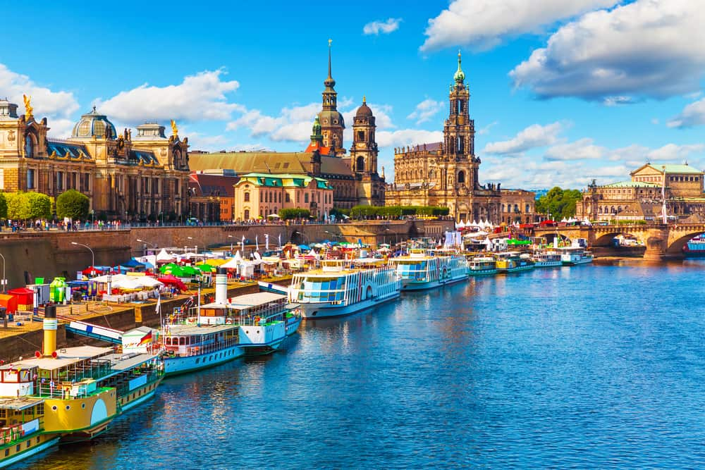 Germany - Dresden - Scenic summer view of the Old Town architecture with Elbe river embankment in Dresden, Saxony, Germany