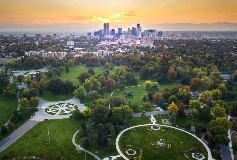 USA - Colorado - Sunset over Denver cityscape, aerial view from the city park