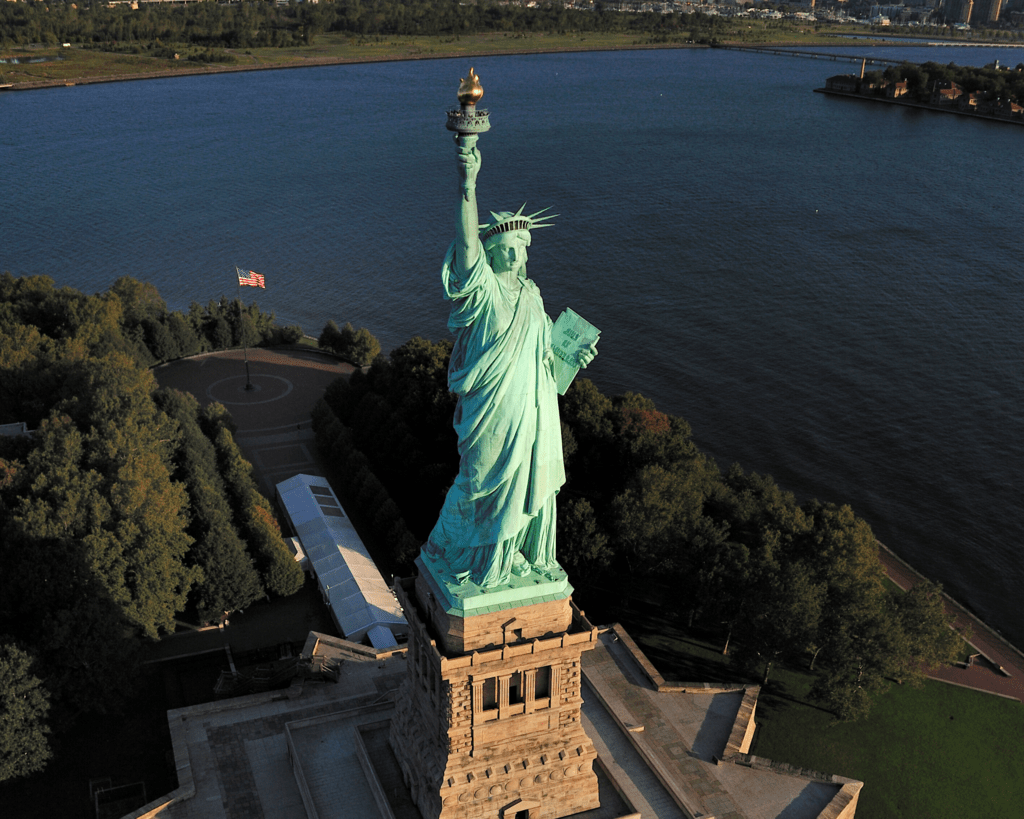 USA - New York - Statue of Liberty from above
