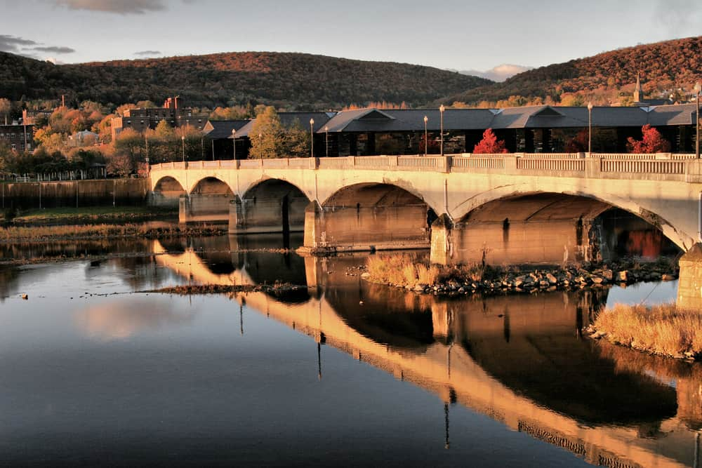 United States - New York - Chemung River Bridge Reflection, Corning, NY