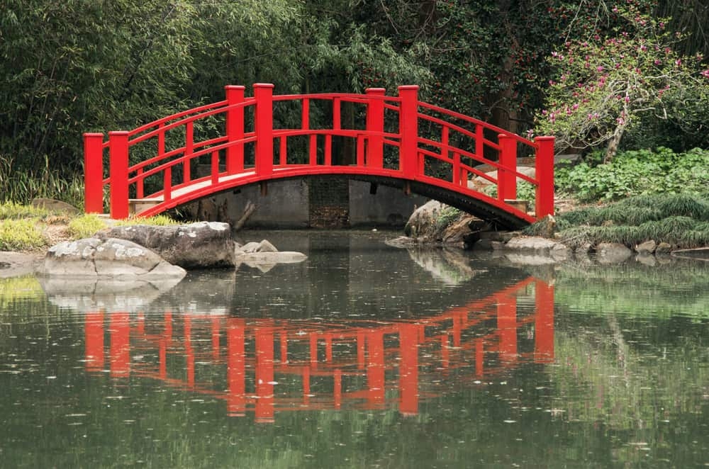 USA - Alabama - Birmingham - A Red Bridge spans a pond in the Birmingham Botanical Gardens in Birmingham,Alabama