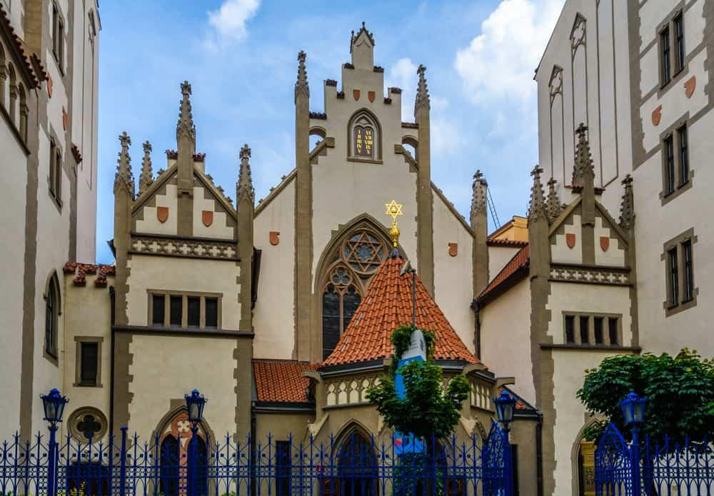 Façade of Maisel Synagogue in Prague, Czech Republic