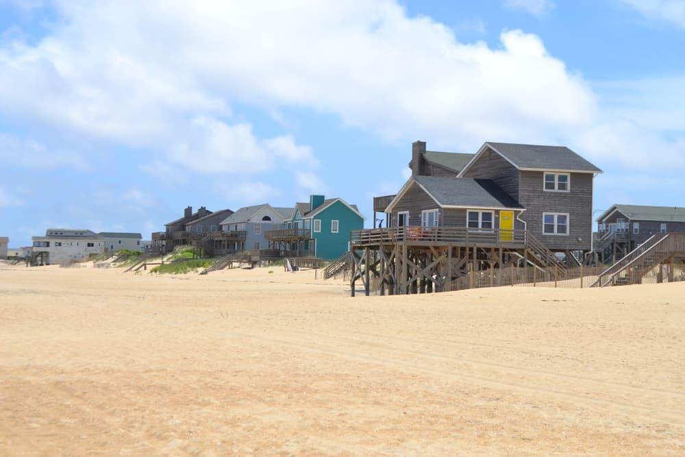 USA - North Carolina - beachfront properties along the shore of Kill Devil Hills in the Outer Banks of North Carolina