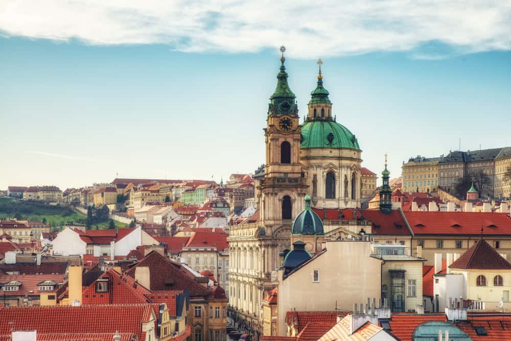 prague, Czech Republic - April 04: View of St Nicholas Church at Mala Strana (Kostel sv. Mikulase) Cathedral in old town and the main street to the Prague Castle from the top of the Lesser Tower