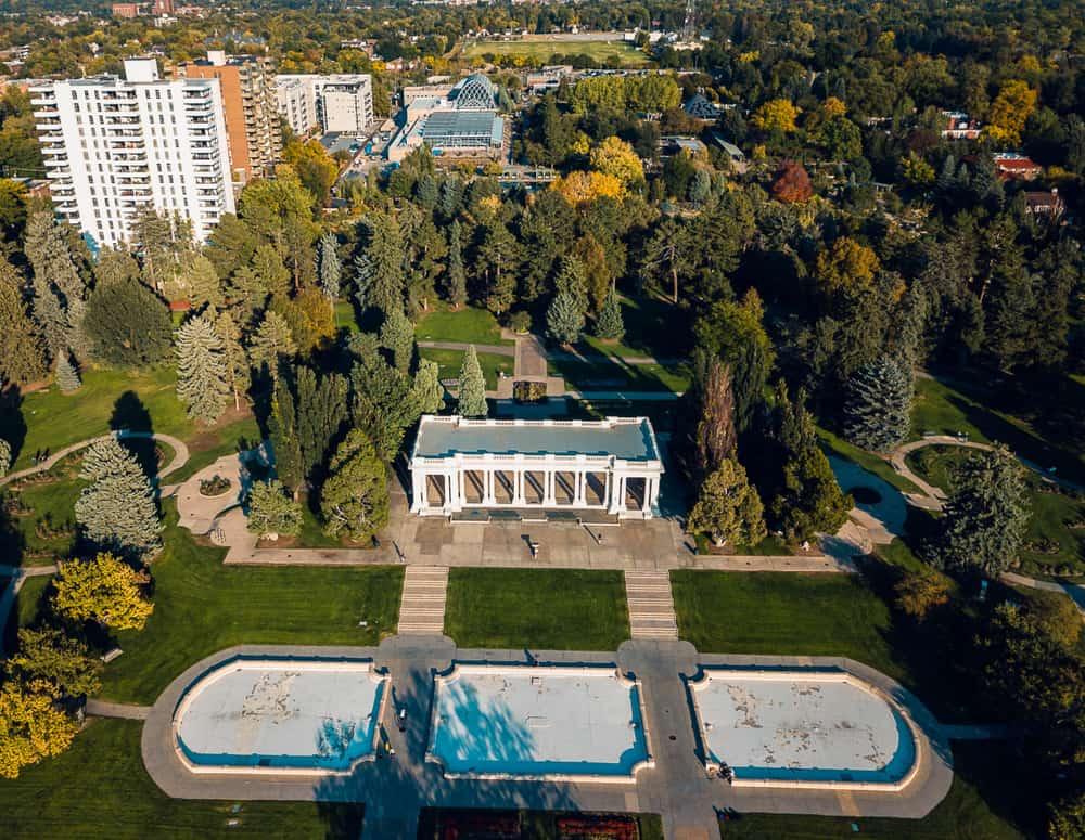 USA - Colorado - Denver - Aerial view of Denver botanical gardens
