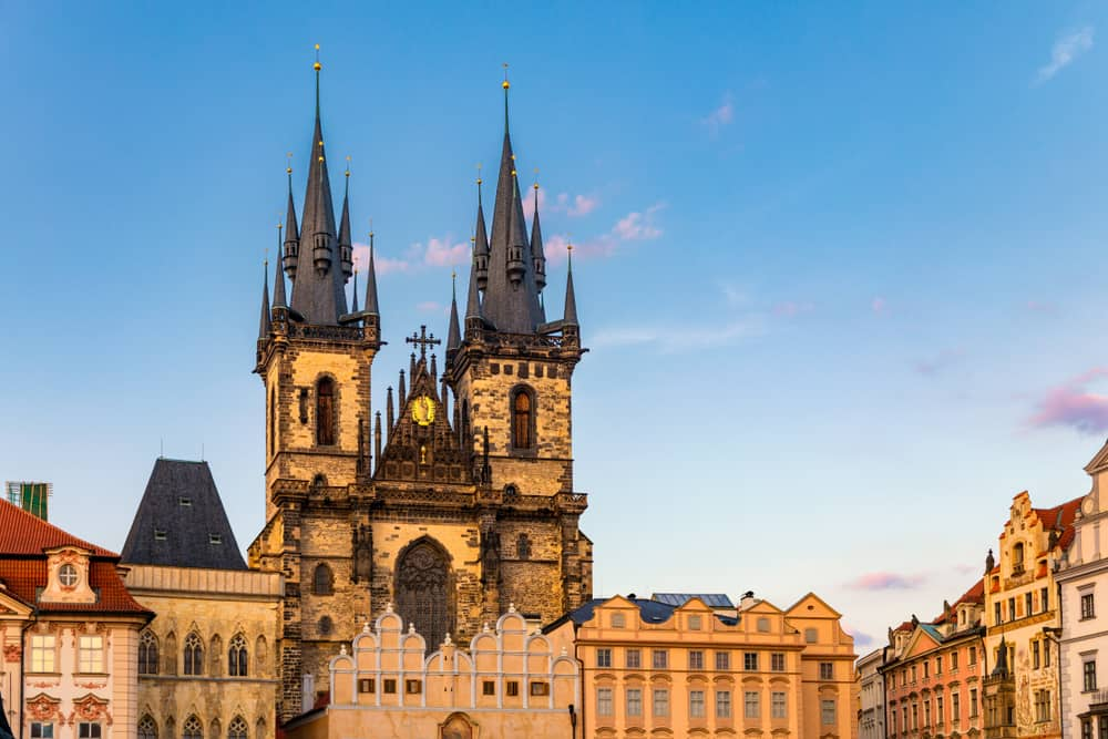 The Church of Our Lady before Tyn. The Old Town Square Prague Czech Republic. Famous Tyn Church on Old Town Square, Prague, Czech Republic.