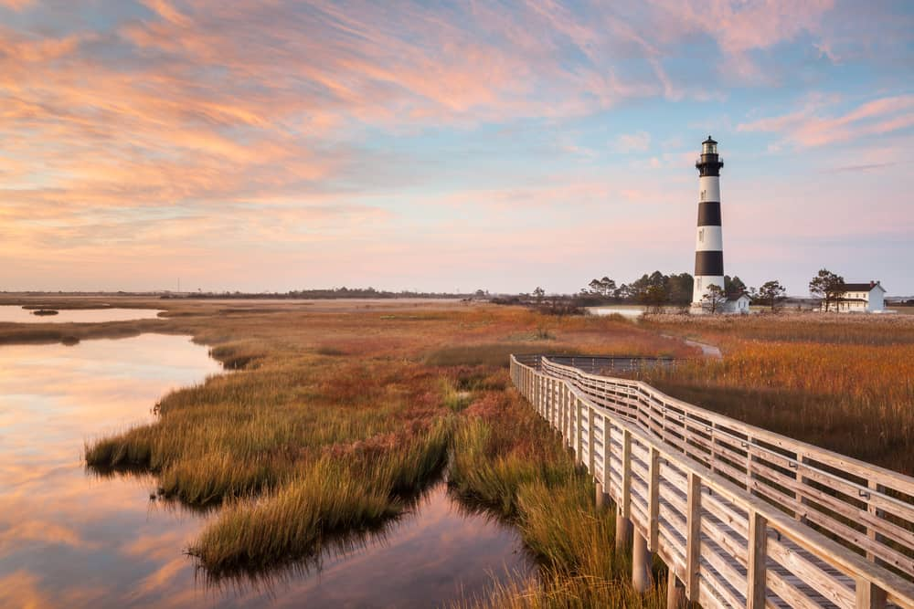 USA - North Carolina - Bodie Island Lighthouse and boardwalk autumn landscape on the Cape Hatteras National Seashore in North Carolina