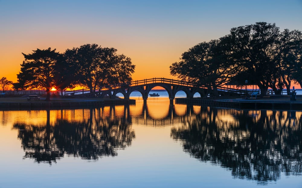 USA - North Carolina - Iconic bridge over the Currituck Sound at the historic Corolla Park at sunset on the Outer Banks of North Carolina.