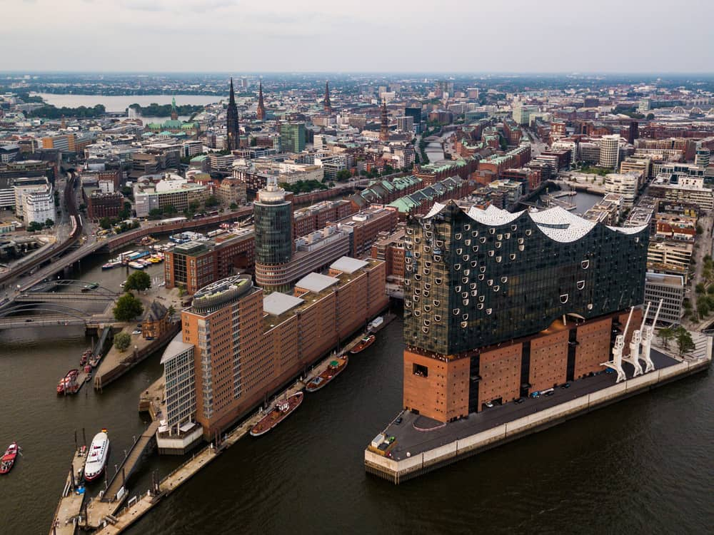 Germany - Hamburg - Aerial view of the Elbe River and the Opera House in Hamburg during sunset. Geramania in the summer