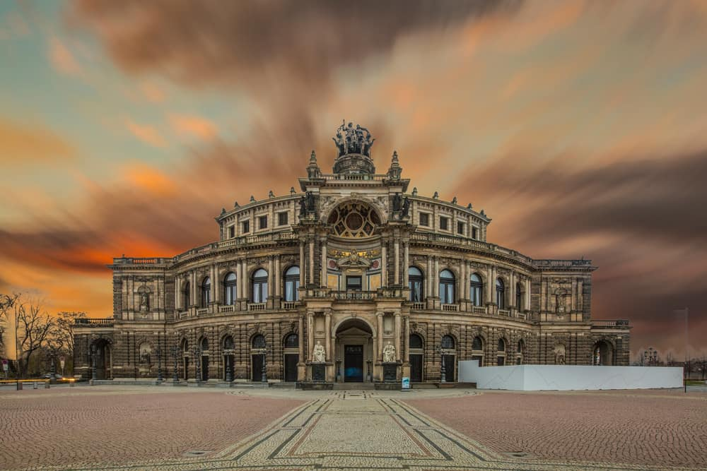 Germany - Dresden - DRESDEN, GERMANY - June 15, 2019: The famous opera house Semperoper in Dresden after a concert after sunset