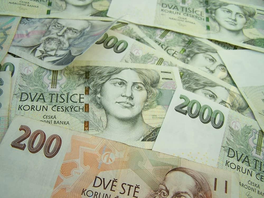 czech korunas (CZK) currency banknote money