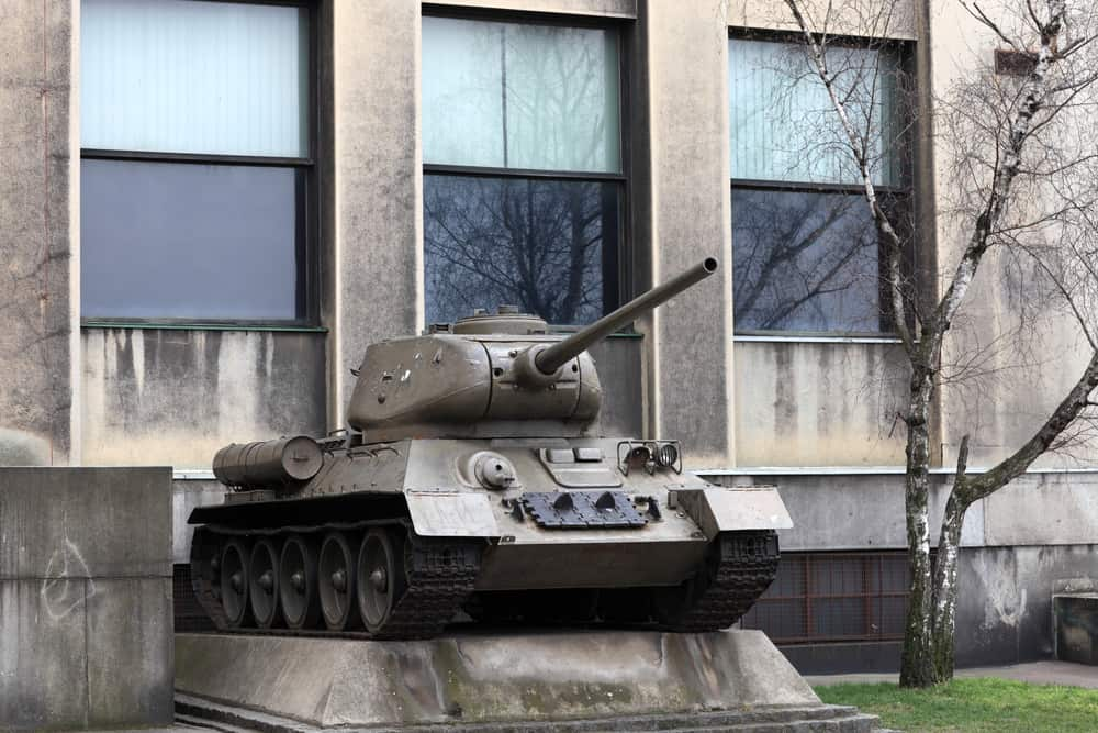 The old soviet tank in a museum prague museum of communism