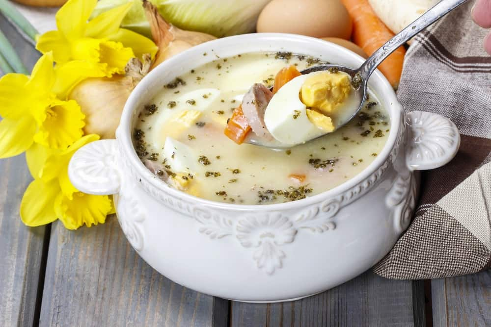 Polish food - The sour rye soup made of soured rye flour and meat (usually boiled pork sausage or pieces of smoked sausage, bacon or ham)
