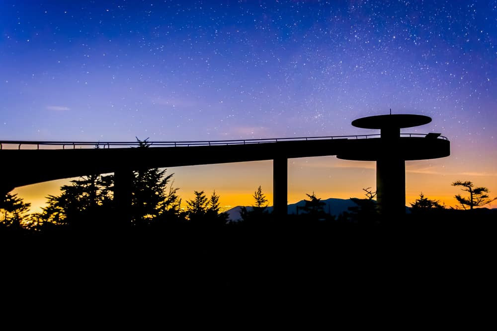 Stars in the night sky over Clingman's Dome Observation Tower in Great Smoky Mountains National Park, Tennessee.