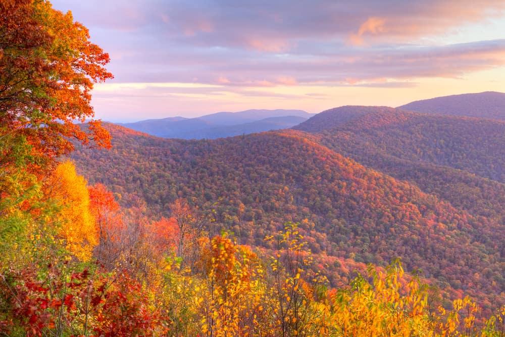 USA - Virginia - Sunrise in autumn at Shenandoah National Park.