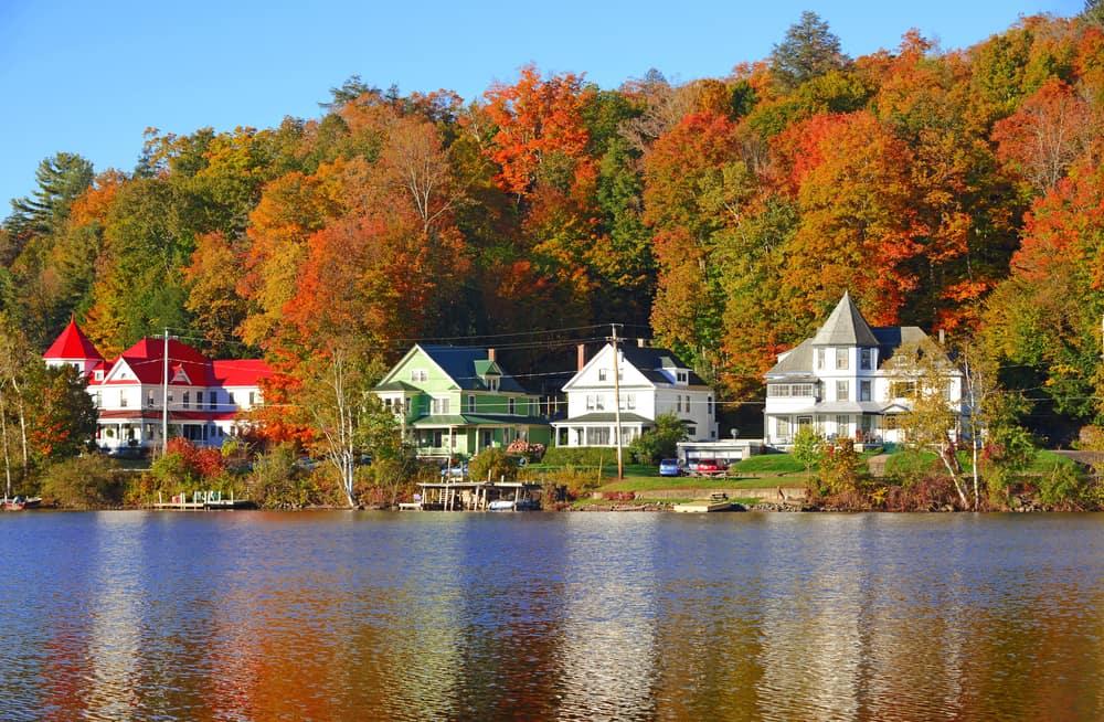 United States - New York - Reflection in Saranac Lake, Autumn in the Adirondacks, New York