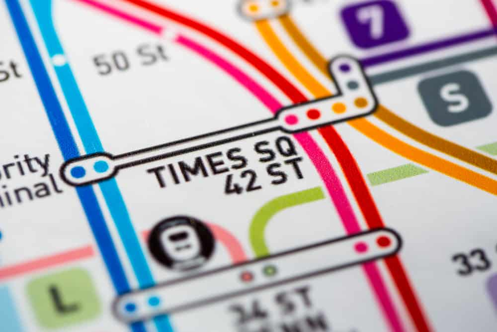 USA- New York - View of Times Sq station on the Seventh Avenue Line, a subway service in NYC. (custom map)
