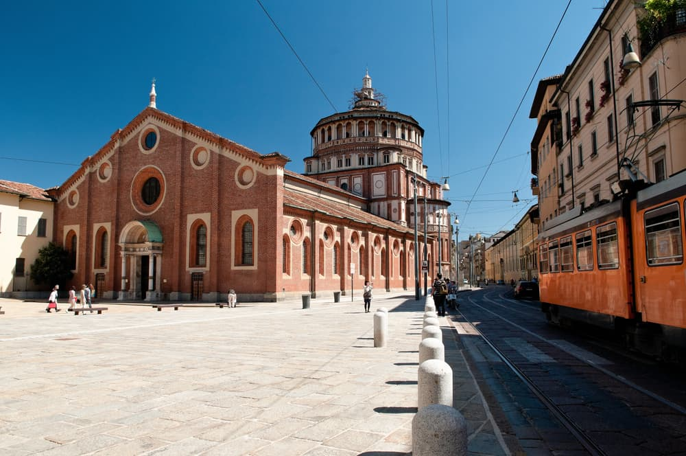 View of the Church of Santa Maria delle Grazie, in which the Fresco of Leonardo da Vinci The Last Supper is kept in Milan, with its courtyard