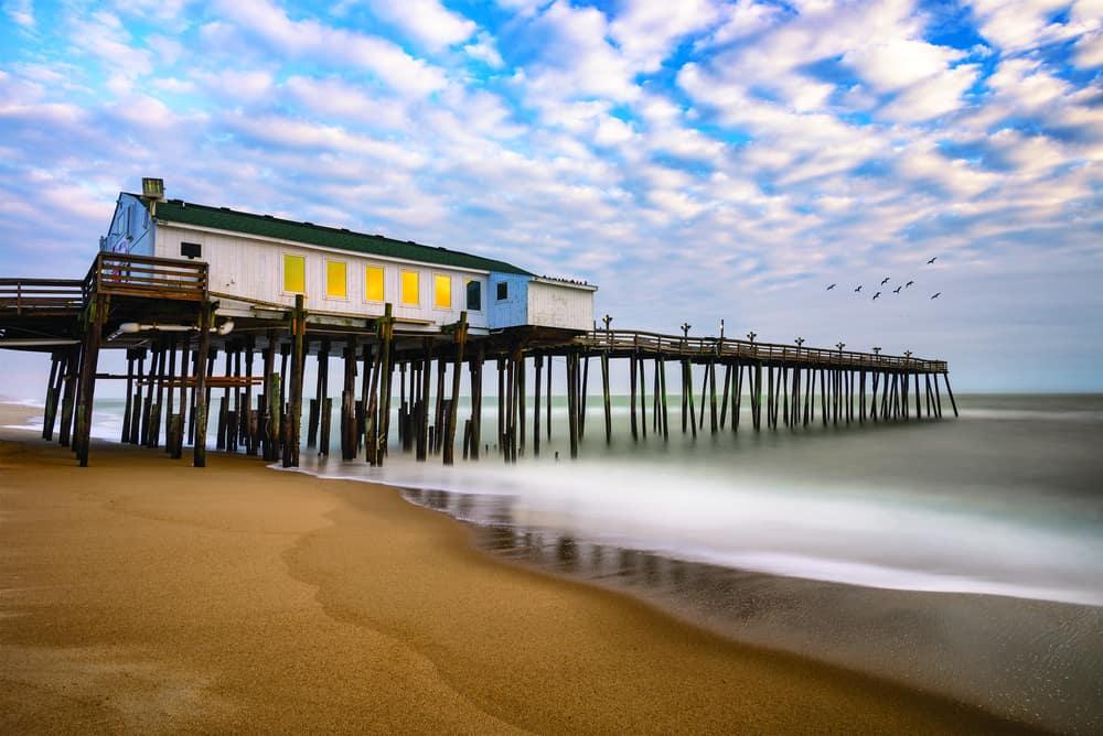 North Carolina - USA - North Carolina - Morning time at Kitty Hawk fishing pier along North carolina's Outer Banks