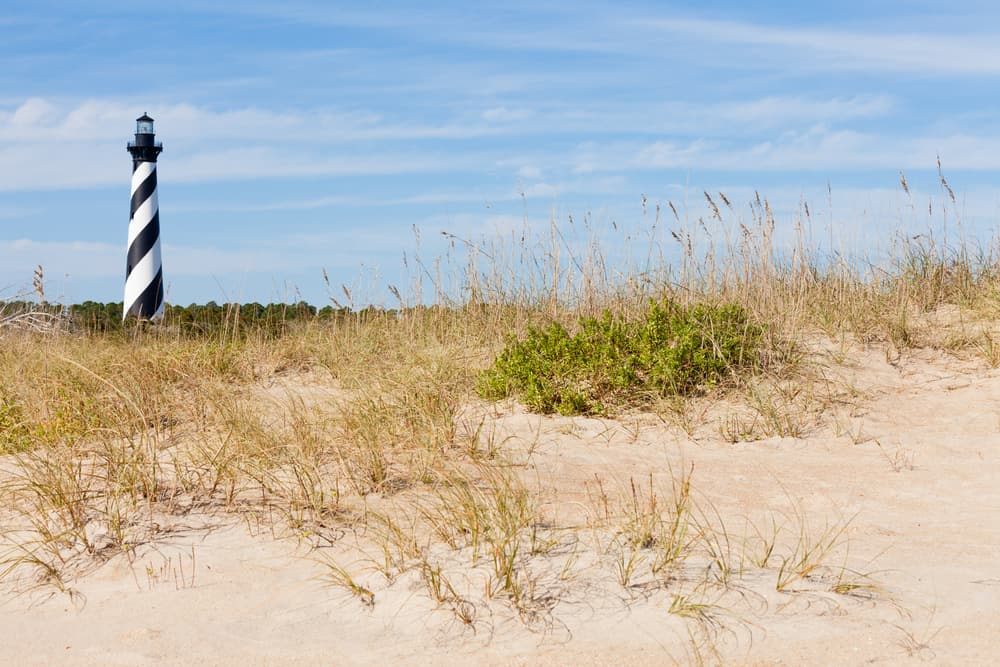 USA - North Carolina - Cape Hatteras Lighthouse towers over beach dunes of Outer Banks island near Buxton, North Carolina, US