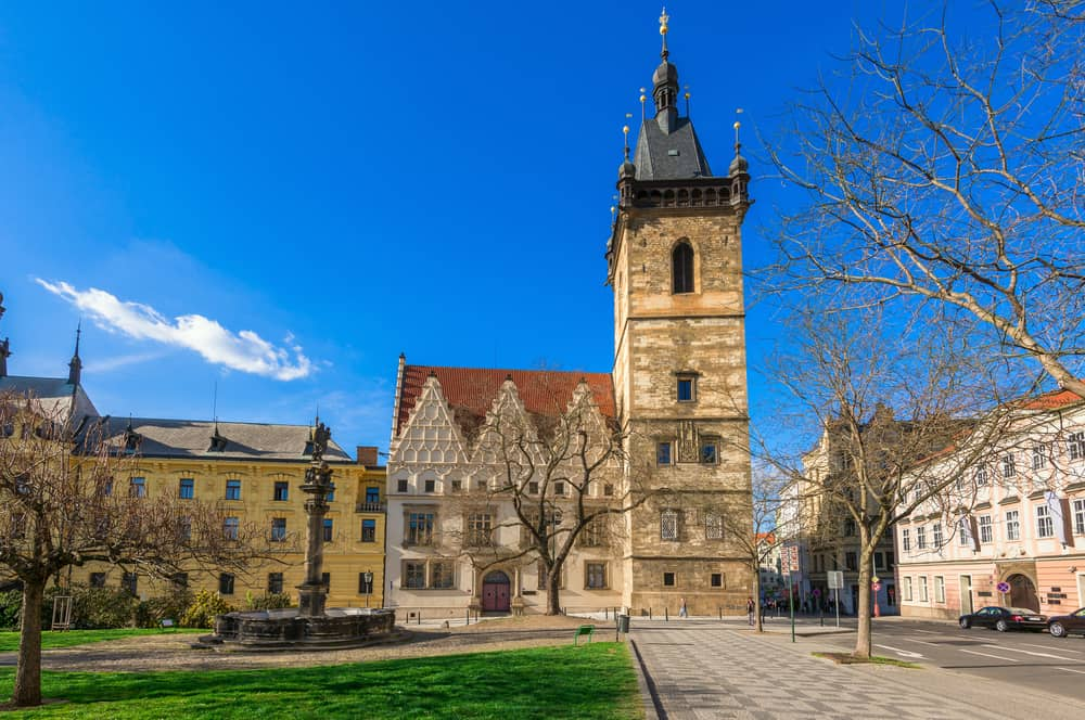 Royalty-free stock photo ID: 408371728 The New Town Hall (Novomestska radnice) in New Town Quarter (Nove Mesto) in Prague. Czech Republic