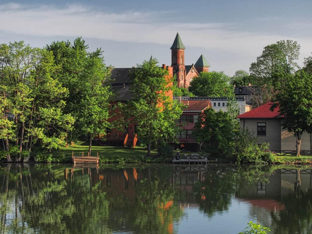 United States - New York - View of the First Presbyterian Church of Seneca Falls