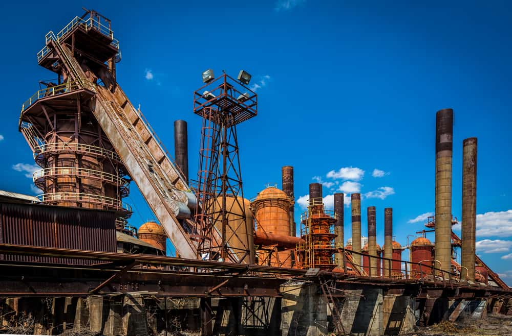 USA - Alabama - Birmingham - Magic City historical structure in Birmingham, Alabama . Blue skies and white clouds. Structurally pleasing. The historic Sloss Furnaces, Downtown Birmingham. Old furnace steel mill. Great tours.