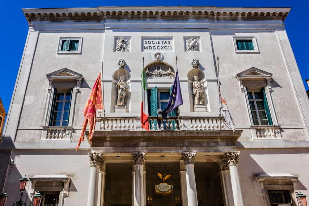 Italy - Venice - Exterior of famous Gran Teatro La Fenice (Phoenix, 1776) - famous opera house in Venice, Italy.