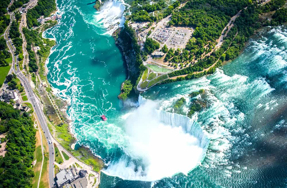 USA - Canada - Niagara Falls Aerial View from helicopter, Canadian Falls, Canada