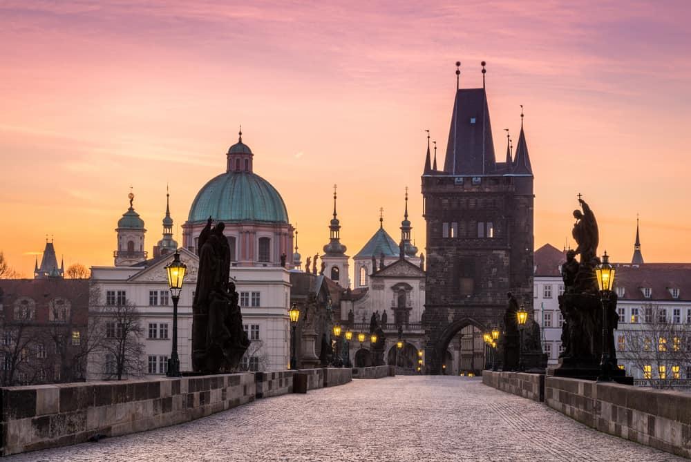 Prague, Charles Bridge (Karluv Most) in the morning, the most beautiful bridge in Czechia. Czech Republic