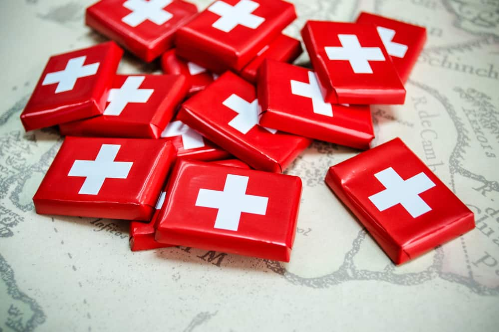 Switzerland - Chocolate in Swiss Flag