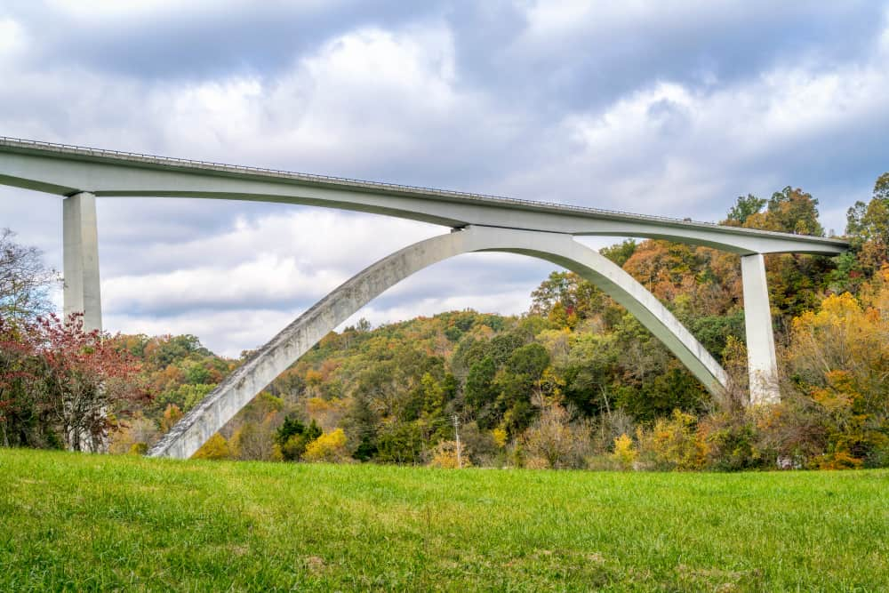 Double Arch Bridge at Natchez Trace Parkway near Franklin, TN, fall scenery USA Tennessee