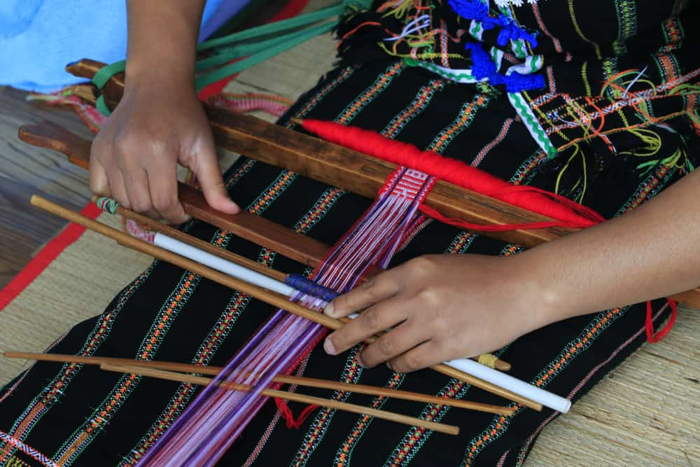 Vietnam - embroidered ethnic brocade cloth of the Central Highlands at Lam Dong, Viet Nam