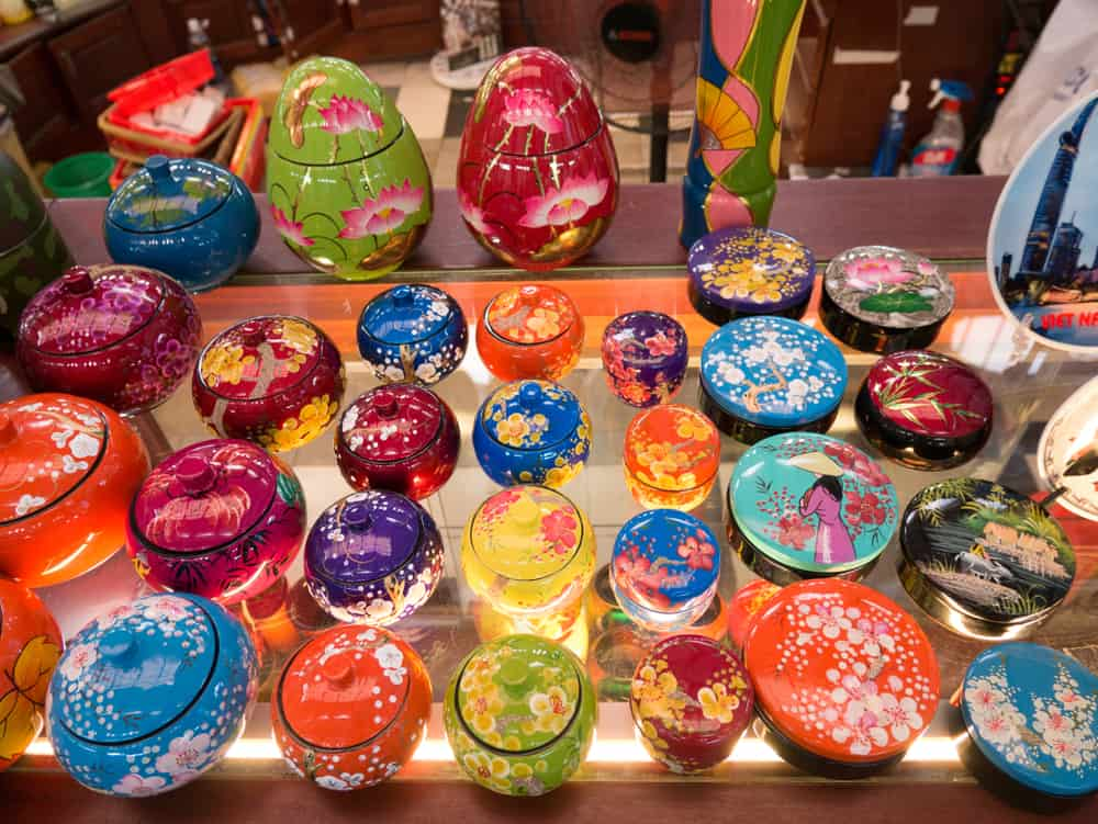 Close up of lacquer ware a traditional Vietnamese art. Vietnam's traditional souvenirs are sold in shop at Saigon Central Post Office in Ho Chi Minh city, Vietnam.