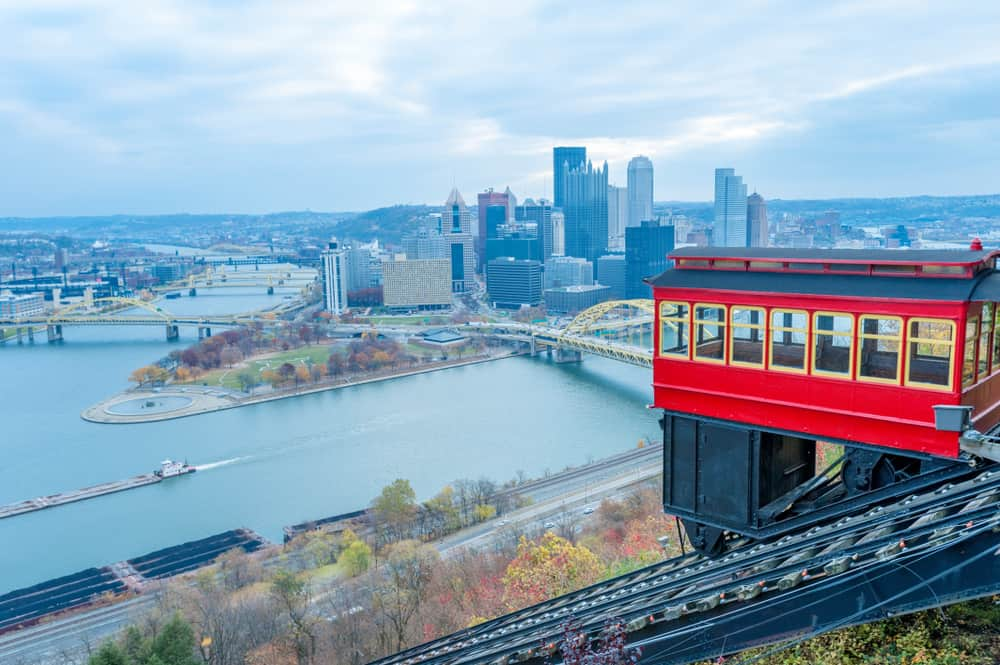 USA - Pittsburgh - View of historic Duquesne Incline car and Pittsburgh panorama from the observation deck