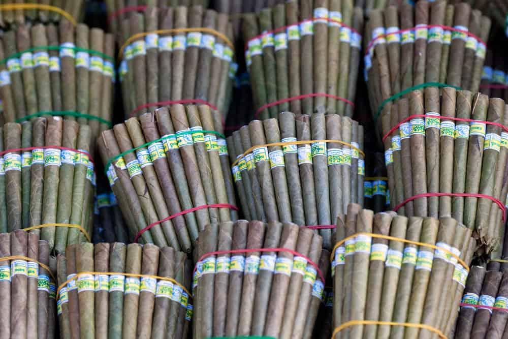 Burmese home-rolled cigar at local market, Myanmar