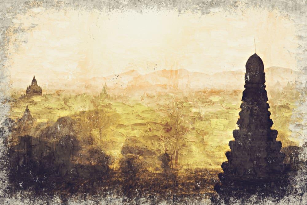 The Temples of , Bagan at sunrise, Mandalay, Myanmar. Digital Art Impasto Oil Painting by Photographer Myanmar