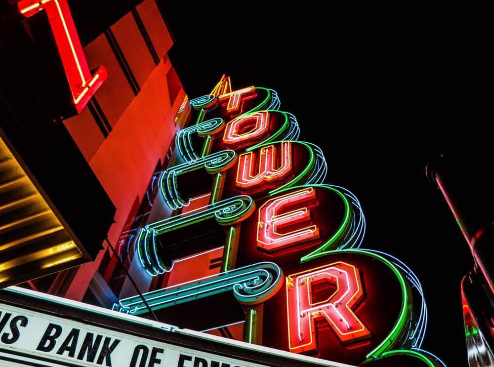 USA - Oklahoma - Oklahoma City - Tower Theater Neon Lights in Oklahoma City.