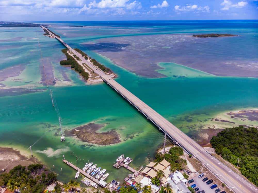 Aerial shot of U.S. route 1, Key West , Florida USA
