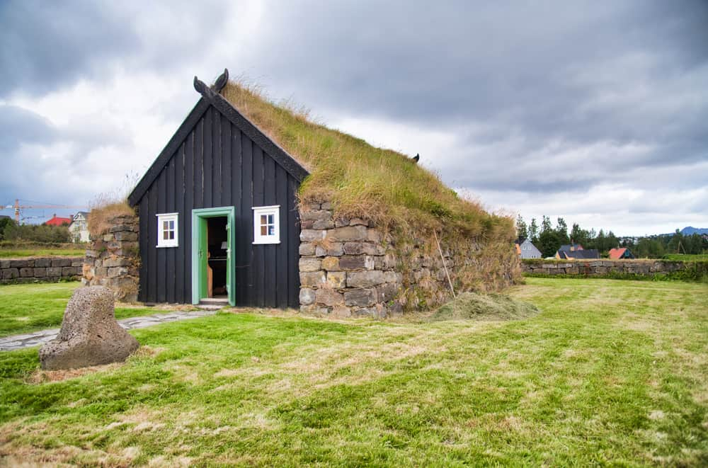 Arbaer Open Air Museum. Homes covered with grass in Iceland.