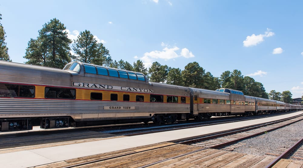 USA - Arizona - View of train in Gran Canyon National Park railway station.